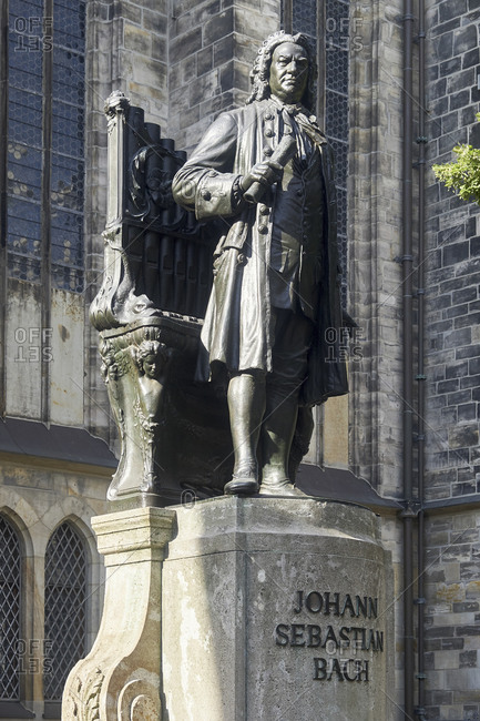 July 4, 2018: Bach monument in front of the Thomaskirche in Leipzig, Saxony, Germany