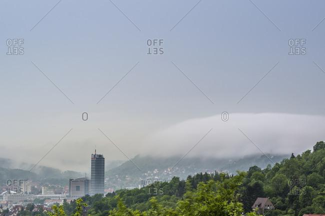 June 1, 2018: Morning fog over Jena, Thuringia, Germany