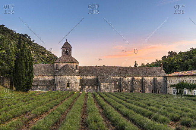 Sunset at the Notre-Dame de Senanque Monastery at Gordes, Provence, southern France