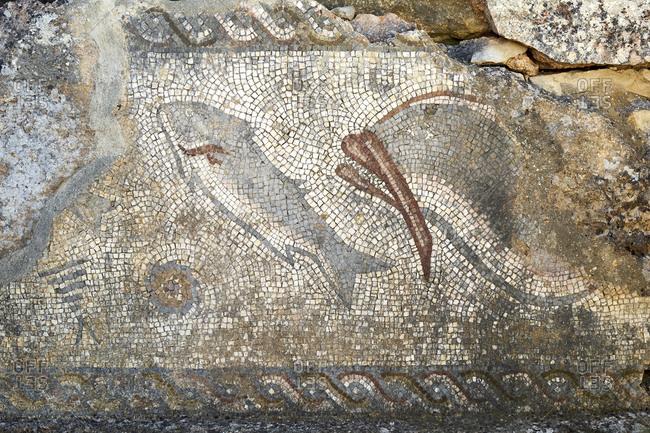Roman mosaic in the ruins of Milreu archeological site, near Faro, Estoi, Algarve, Faro, Portugal