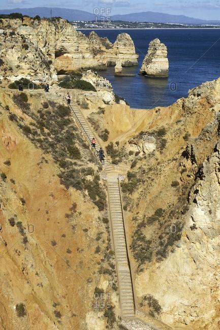 October 28, 2018: Rocky coast at Ponta da Piedade near Lagos, Algarve, Faro, Portugal
