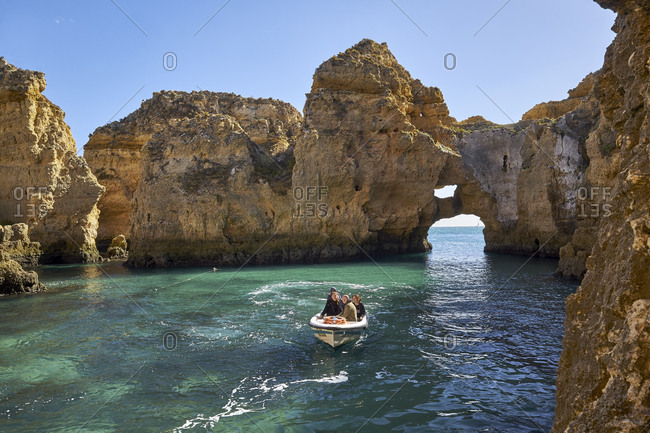 October 28, 2018: Boat trip on rocky coast at the Ponta da Piedade near Lagos, Algarve, Faro, Portugal