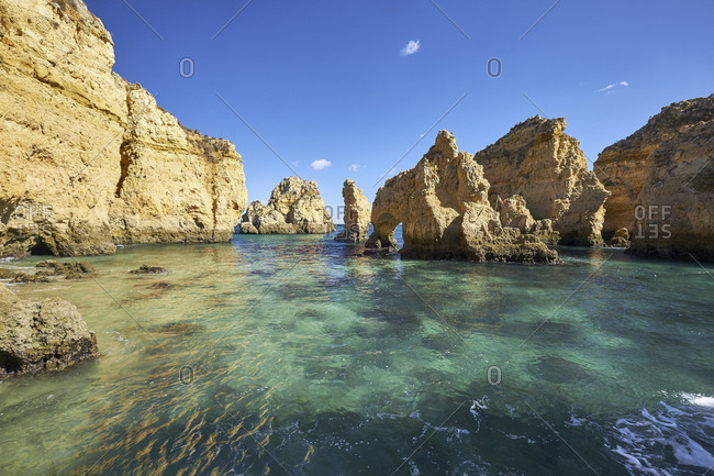 Rocky coast at Ponta da Piedade near Lagos, Algarve, Faro, Portugal