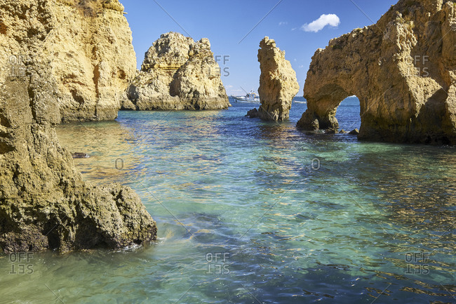 October 28, 2018: Rocky coast at Ponta da Piedade near Lagos, Algarve, Faro, Portugal