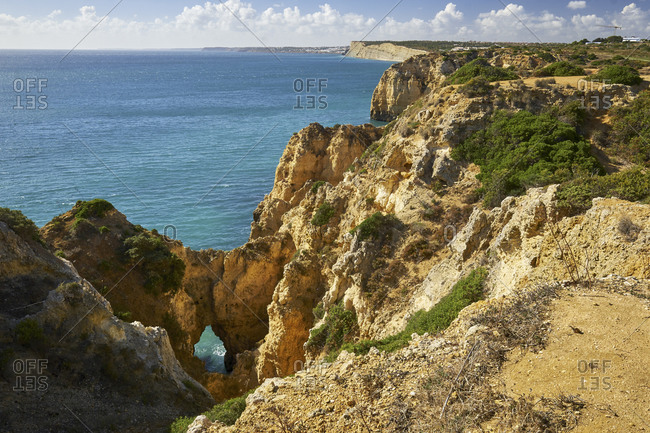 Rocky coast at Ponta da Piedade near Lagos, Algarve, Faro, Portugal