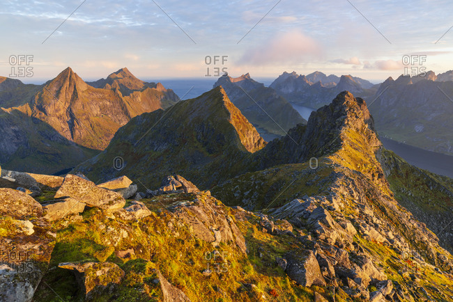 Morning atmosphere at Mount Munken with view to the east, Moskenesoya, Lofoten, Norway