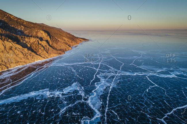 Sunset at the frozen Lake Baikal, Russia