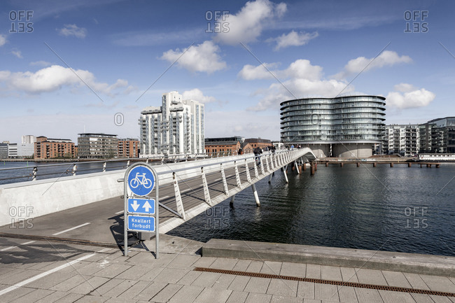 January 1, 1970: Bicycle bridge in front of Gemini Residence, Islands Brygge, Amagerbro, Copenhagen, Denmark