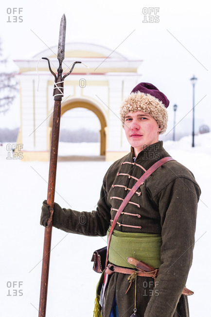 Man with spear in traditional clothes, Omsk, Siberia, Russia