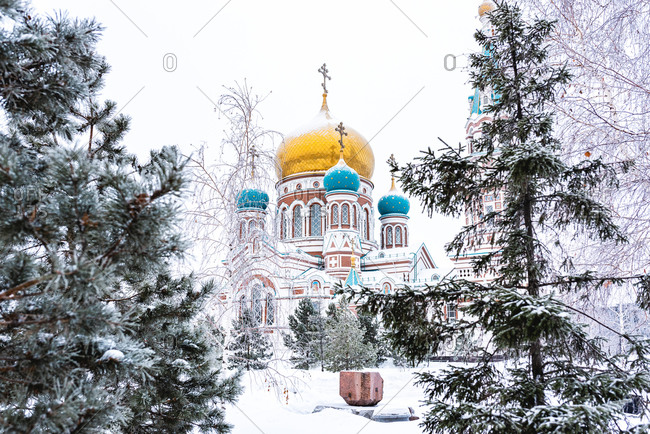 Assumption Cathedral in Winter, Omsk, Siberia, Russia