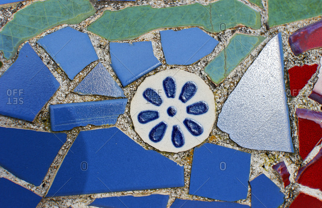 Colored stone tiles, mosaics, Cala Figuera, Mallorca, Balearic Islands, Spain, Europe