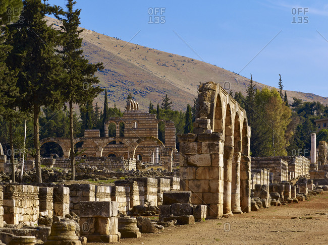 Colonnaded street of the ancient town of Anjar so Haoush Mousa, Lebanon, Middle East