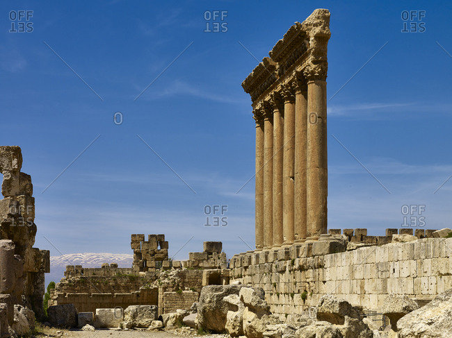 Columns of the Temple of Jupiter at ancient city of Baalbek, Lebanon, Middle East