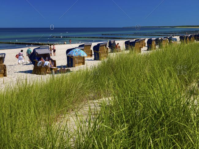 June 29, 2011: Beach in Ahrenshoop, Darss-Fischland-Zingst, Mecklenburg-Vorpommern, Germany