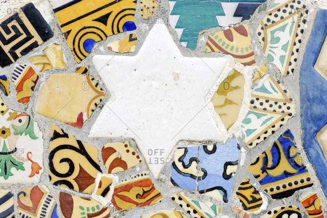 Mosaic, Parc Guell by Antoni Gaudi, UNESCO World Heritage Site, Barcelona, Spain