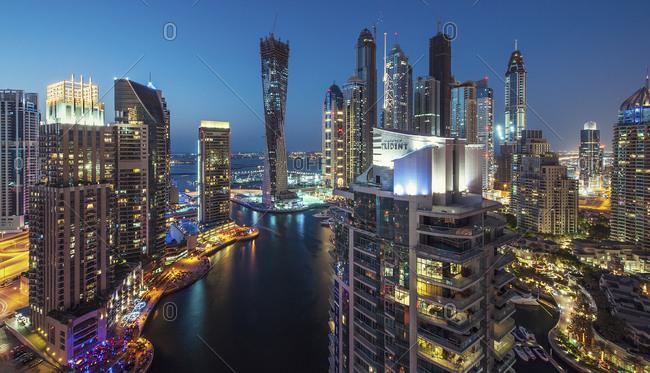 October 27, 2011: Dubai Marina in the evening, UAE