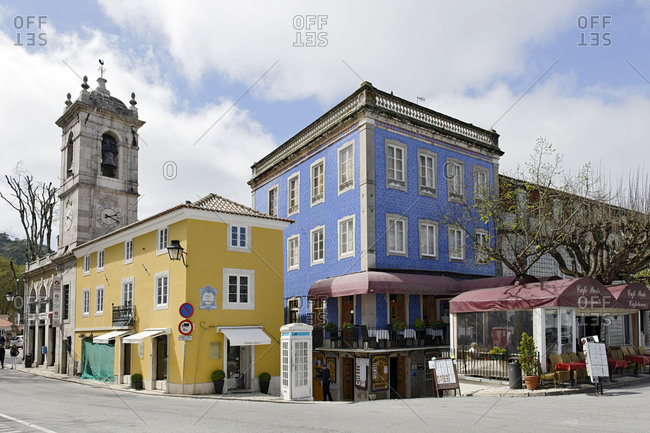March 29, 2011: Houses with ornate mosaic walls, Sintra, UNESCO World Heritage Site, Portugal