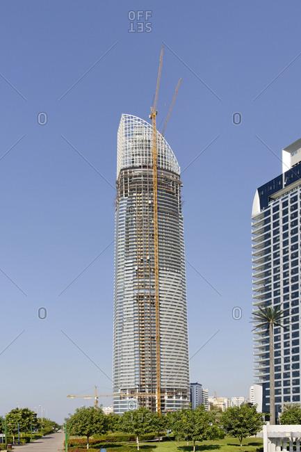 November 29, 2010: Office building under construction, Abu Dhabi, United Arab Emirates