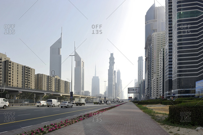 February 1, 2010: Skyscrapers along Sheikh Zayed Road, Dubai, UAE