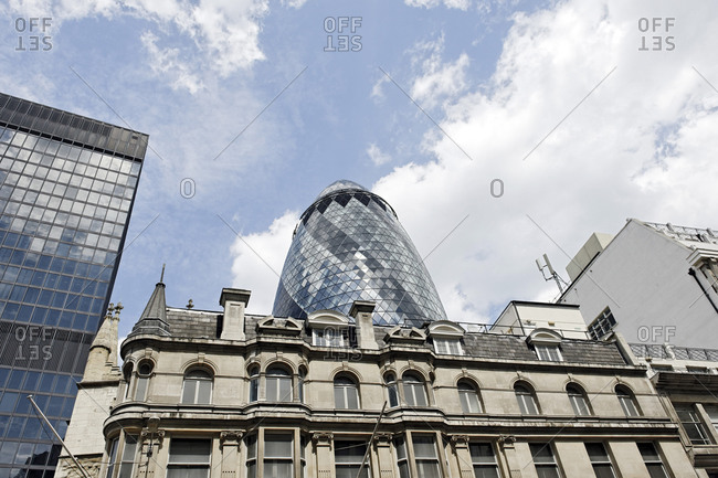 July 15, 2011: Architecture, Swiss Re Tower, The Gherkin Tower, City of London, London, England, United Kingdom, Europe, London, England, United Kingdom, Europe
