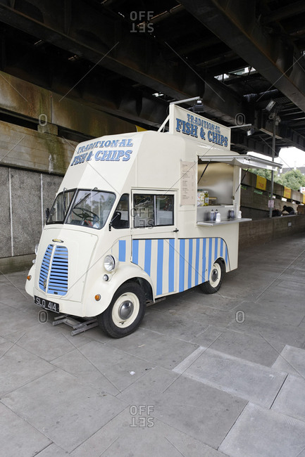 July 15, 2011: Traditional Fish & Chips vehicle, Waterloo Bridge, Festival Pier, Southwark, London, England, United Kingdom, Europe