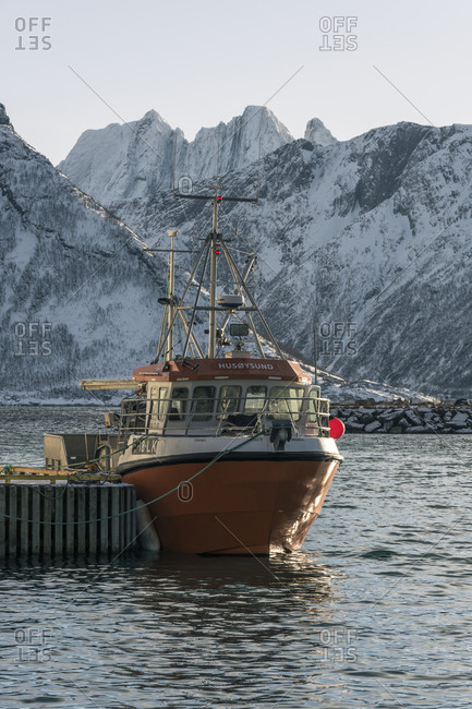 March 4, 2018: Oyfjord with fishing village Husoy, Senja, Norway