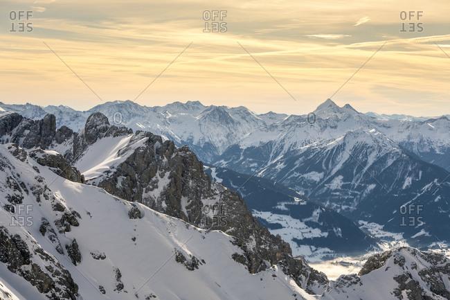 Dachstein glacier, Dachstein massif, view of the Schladminger Tauern, morning, Austria
