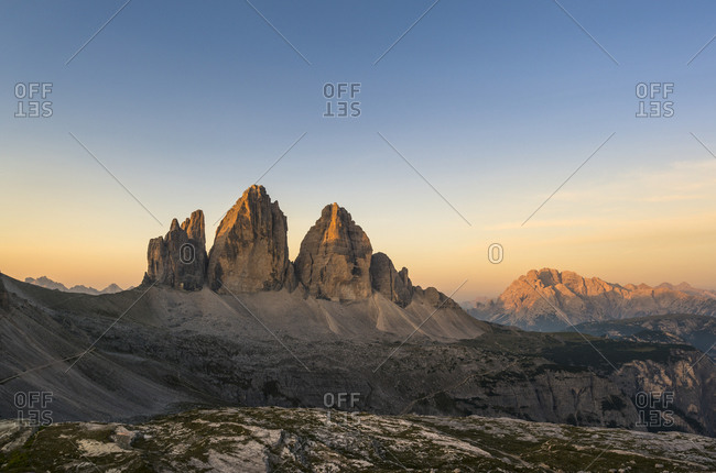 Tre Cime di Lavaredo at sunrise, Tre Cime Natural Park, Dolomites, South Tyrol, Italy