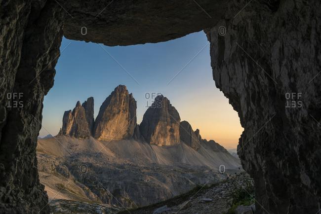 Tre Cime di Lavaredo at sunset, Tre Cime Natural Park, Dolomites, South Tyrol, Italy