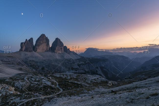 Tre Cime di Lavaredo, View from the Tobling Knot, Sunset, Tre Cime Natural Park, Dolomites, South Tyrol, Italy