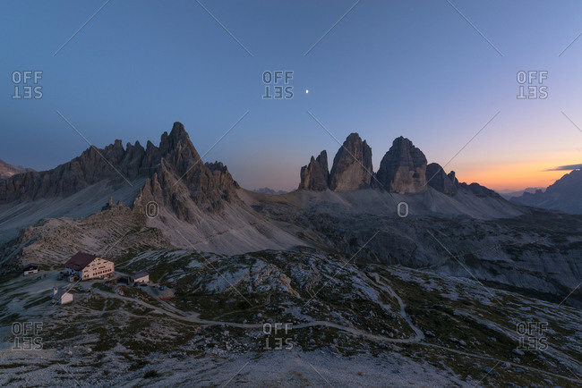August 30, 2017: Tre Cime di Lavaredo, View from the Tobling Knot, Sunset, Tre Cime Natural Park, Dolomites, South Tyrol, Italy