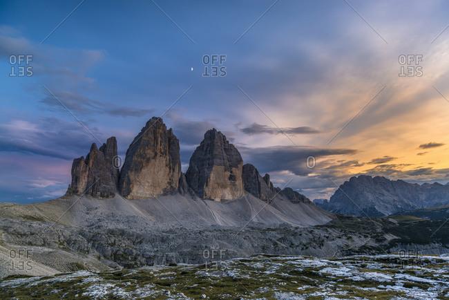 Tre Cime di Lavaredo at sunset, Tre Cime Nature Park, Sexten Dolomites, South Tyrol, Italy