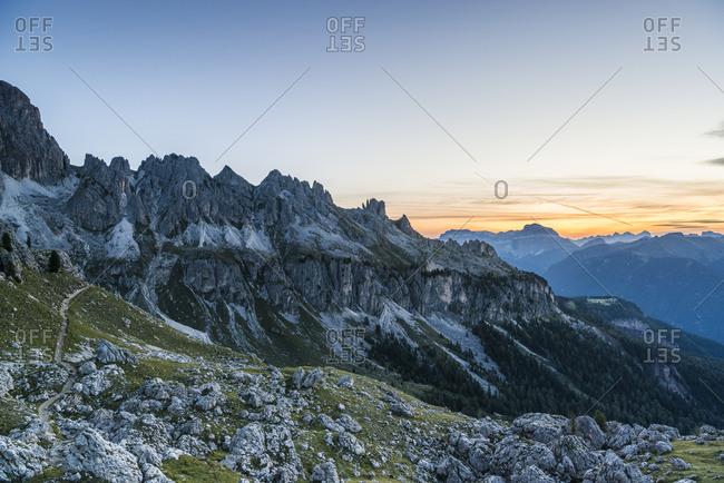 Sunrise at Zigolade Pass, Rose Garden, Dolomites, South Tyrol, Italy