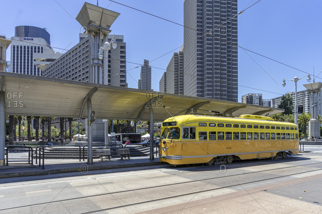 June 19, 2017: Historical TRAM, Downtown, San Francisco, California, United States