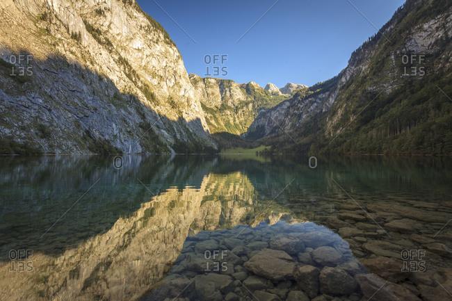 Obersee in summer, Berchtesgaden Alps, Berchtesgaden, Bavaria, Germany