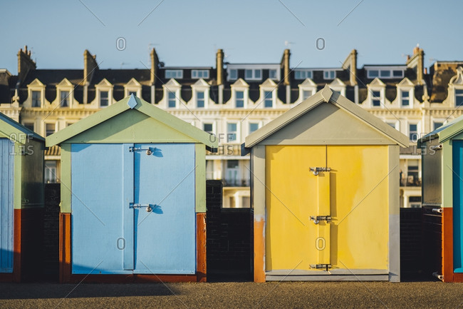 Colorful beach cottages at Brighton Beach, Brighton, England