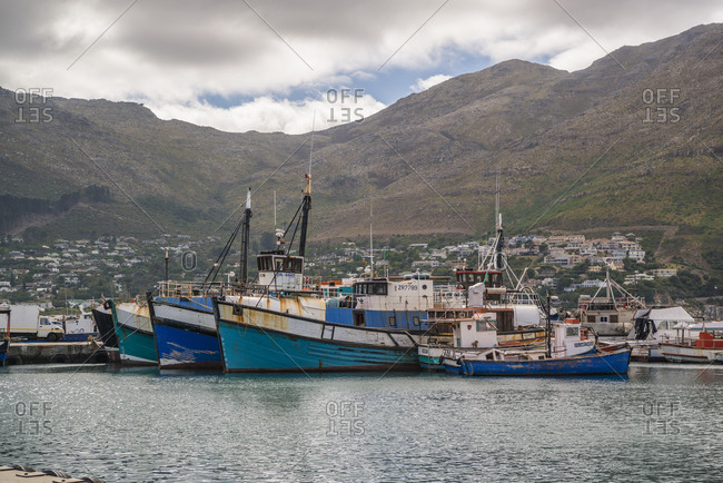 March 5, 2017: Fishing boats at the port of Kalk Bay, False Bay, South Africa