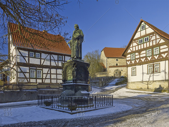January 6, 2017: Luther Memorial at Luther Square in Mohra, Wartburgkreis district, Thuringia, Germany