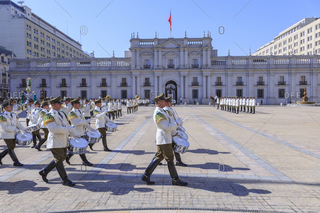 December 7, 2016: Changing of the guard at the Presidential Palace La Moneda, Santiago de Chile, Chile