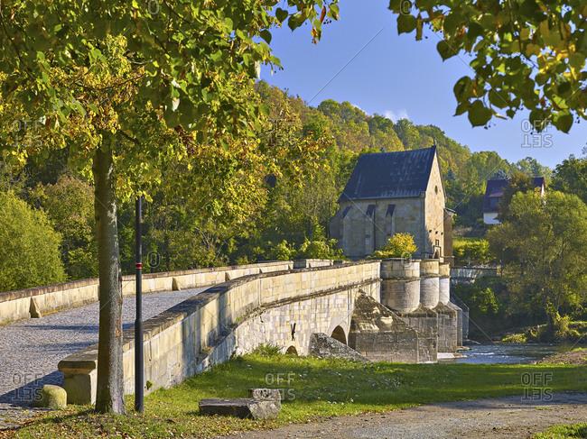 Werra bridge with Liborius chapel in Creuzburg, Wartburg district, Thuringia, Germany