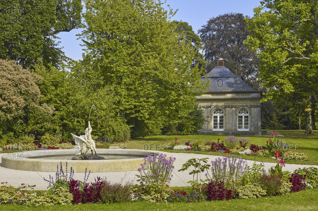 September 10, 2016: Castle Park Fantaisie with fountain and pavilion, Eckersdorf, Upper Franconia, Germany