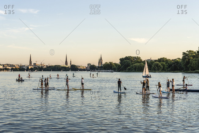 September 6, 2016: Trend Sport, Stand Up Paddling, Outer Alster, Hamburg, Germany