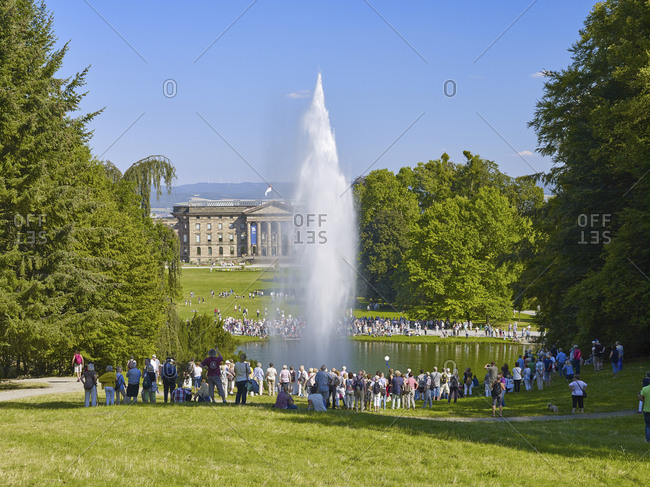 August 31, 2016: Great fountain of the water games in the mountain park Wilhelmshohe with castle, Kassel, Hessen, Germany