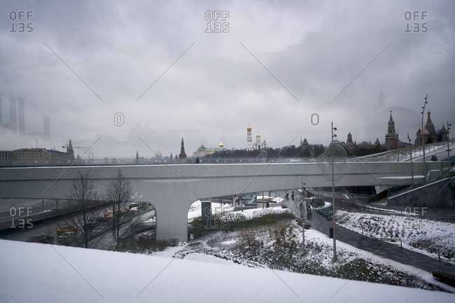 Moscow, Russia - February 2, 2020: View from floating bridge in park Zaryadye to the oldest power station in Moscow on Raushskaya embankmen
