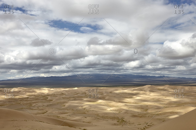 Panoramic view of the Khongoryn Els sand dunes in Gobi Desert, Mongolia