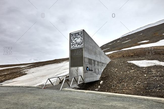 Longyearbyen, Spitsbergen, Svalbard, Norway - June 25, 2014: The Svalbard Global Seed Vault secured entrance