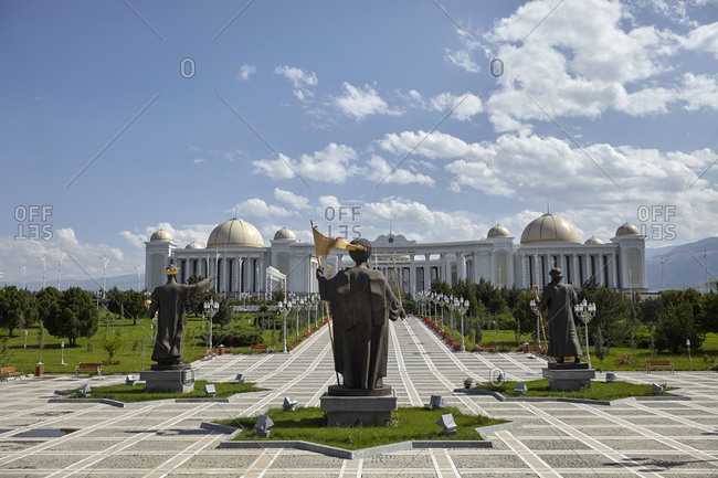 Ashgabat, Turkmenistan - May 14, 2016: View of the National Independence Park and the National Library not far from the Independence Monument in Ashgabat