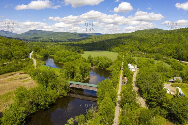 Drone photo of Lamoille River, the Lamoille Valley Rail Trail in Cambridge Junction, Vermont