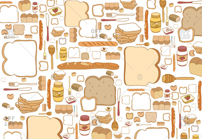 Illustration of breakfast items including various breads and honey