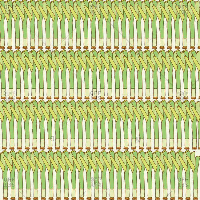 Illustration of leek vegetables in a pattern